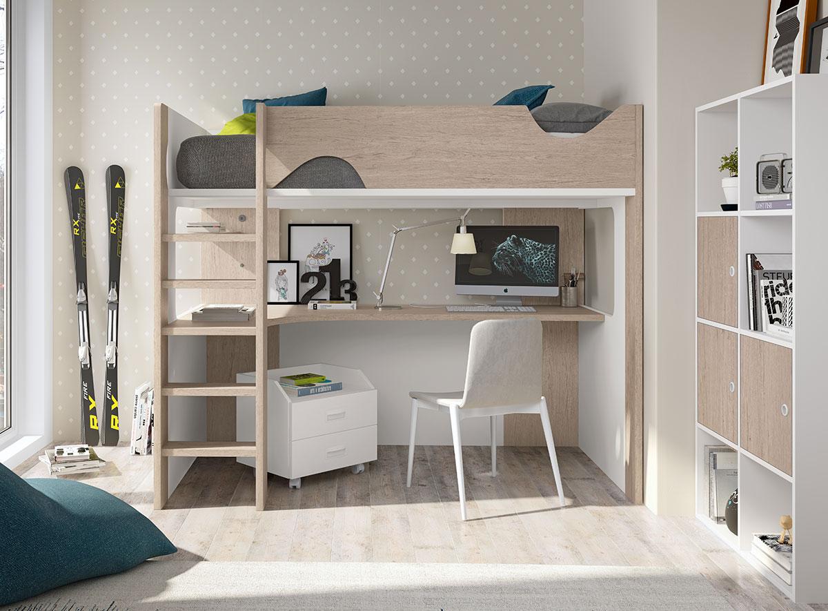 Cama alta con escritorio f206 muebles de tena - Cama litera con escritorio debajo ...